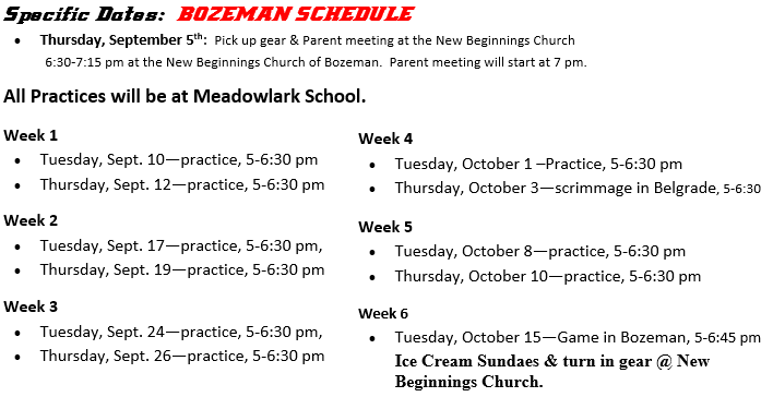 Bozeman Sports Schedule